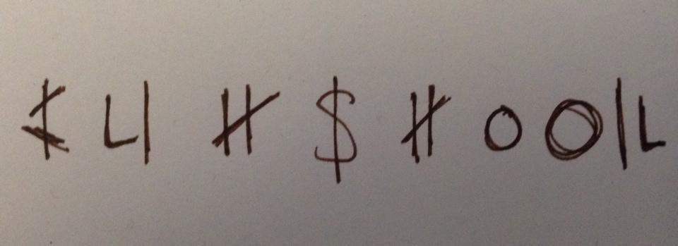 Simons Versuch die Schriftzeichen zu entziffern